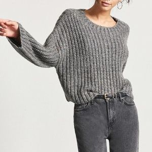 FOREVER 21 Grey Chunky Knitted Sweater